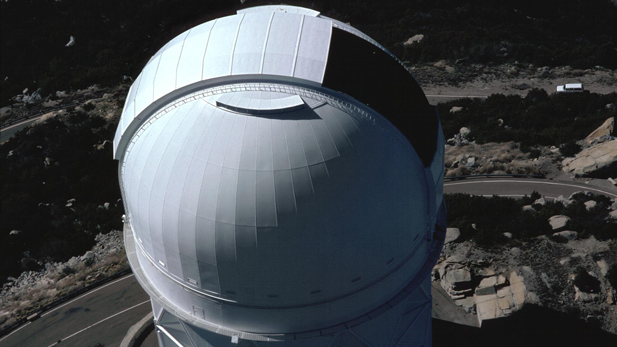 The NOAO Mayall 4-meter telescope at the Kitt Peak National Observatory.