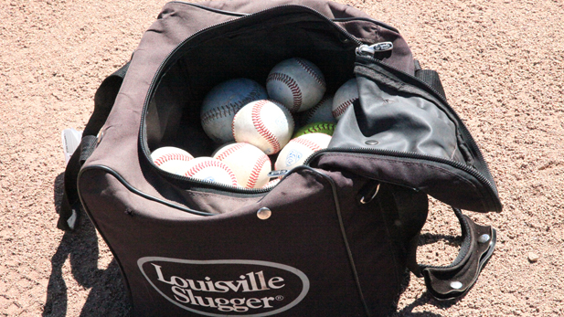 Baseballs await practice at Hi-Corbett Field.
