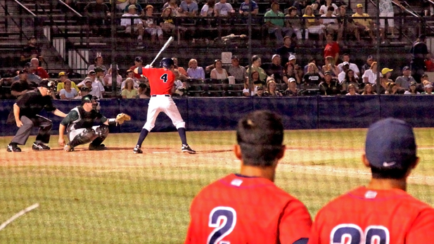 Trent Gilbert at bat late in a game against Oregon at Hi-Corbett field.