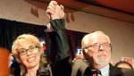 Democrat Ron Barber celebrates his win in Congressional District 8 with his former boss, Gabrielle Giffords. Barber beat Republican Jesse Kelly to finish the remainder of the term, and plans to run again for a full term in the the fall of 2012