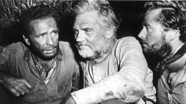 "(L to R): Humphrey Bogart, Walter Huston, and Tim Holt starring in the 1948 film classic ""The Treasure of the Sierra Madre"""