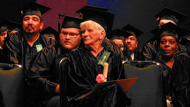 78 year-old GED Graduate Mary Bowman received her GED at Pima Community College.