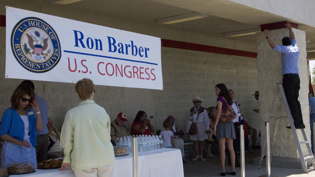 Staff from Congressman Ron Barber's office set up for his first Congress on Your Corner event June 23, 2012.