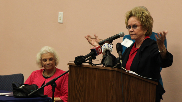 Ann Day speaks at an event in Tucson in July 2012, along with her sister, Sandra Day O'Conner.