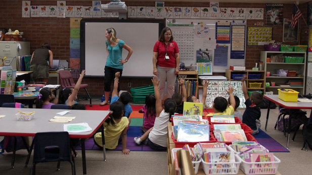 Julie McIntyre, principal at Myers-Ganoung Elementary School visits a class during the summer.