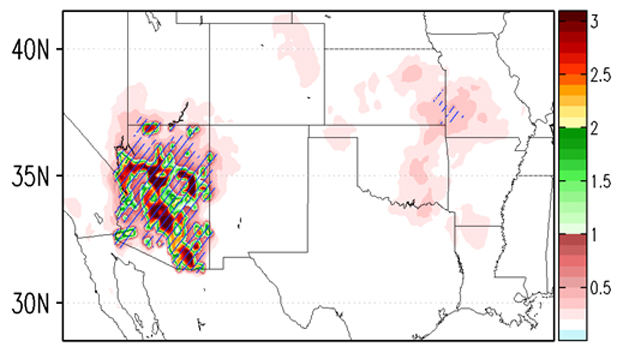 In Georgescu's highest-growth scenarios, temperatures in Arizona could rise as much as 4 degrees Celsius (about 7 degrees Fahrenheit) by 2050 due to the urban heat island effect alone. As shown in the map, that warming would also affect climate conditions in the central U.S.
