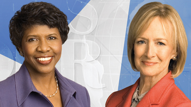 Political journalists Gwen Ifill and Judy Woodruff