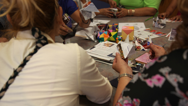 TUSD moms work on hands-on math projects during the 12th Annual Title I Family Conference.