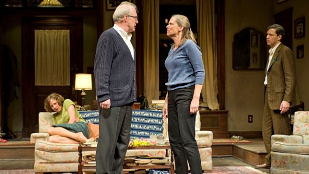 Left to right: Carrie Coon, Tracy Letts, Amy Morton, and Madison Dirks in Who's Afraid of Virginia Woolf?