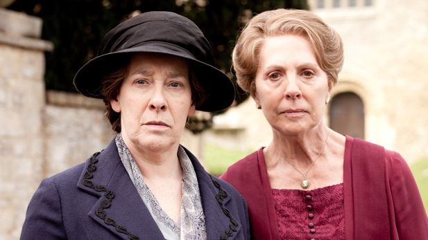 Phyllis Logan as Mrs. Hughes and Penelope Wilton as Isobel Crawley