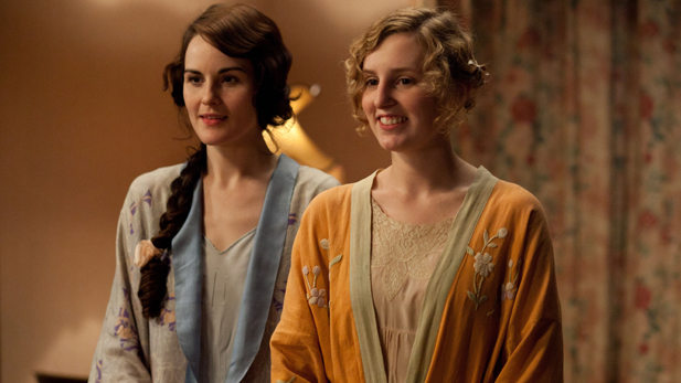Michelle Dockery as Lady Mary and Laura Carmichael as Lady Edith