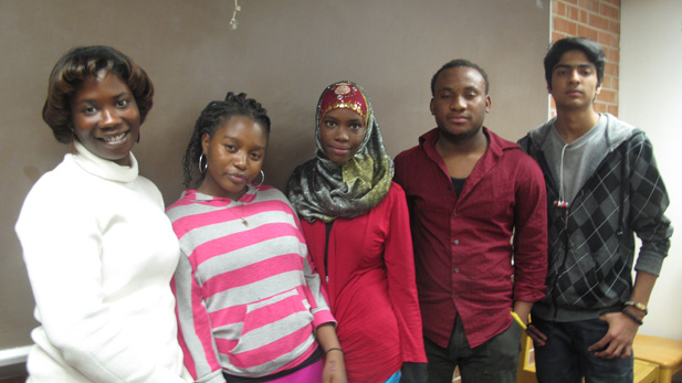 Catalina High School radio class (left to right): Sukay Slea, Frorasi Tuyizere, Khadra Issak, Etongo Ekyoci, Zaroon Nasir