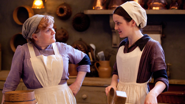 Shown from L-R: Lesley Nicol as Mrs. Patmore and Sophie McShera as Daisy