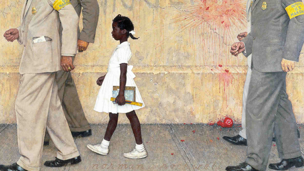 """Norman Rockwell depicted the history-changing walk by the six-year old Ruby Bridges in his iconic painting entitled """"The Problem We All Live With"""""""