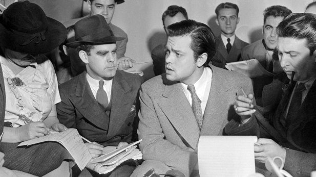 Orson Welles Explaining Radio Broadcast at Press Conference, October 31, 1938.
