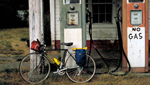 This picture of a bicycle at an old gas station was taken by Martha Retallick in her travels across the country, on her bike.