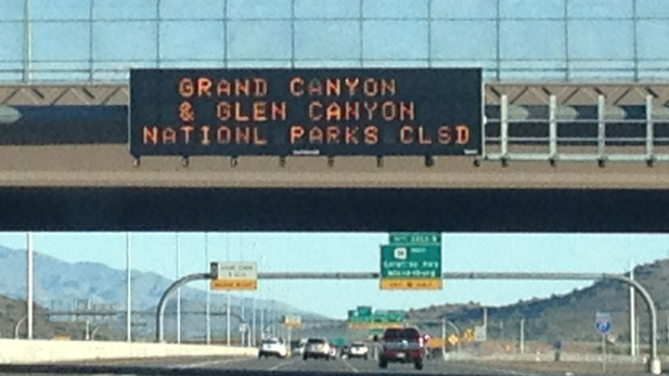 Warning sign along northbound Interstate 17 in metropolitan Phoenix, Oct. 6, 2013.