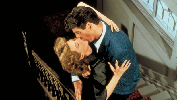 "Rita Hayworth and Burt Lancaster in ""Separate Tables."""