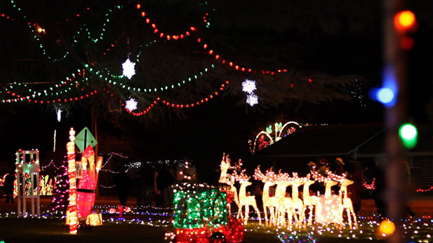 Part of the holiday lighting spectacle in Tucson's Winterhaven.