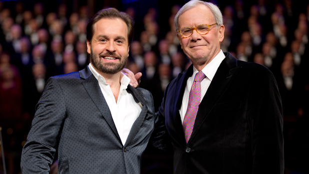 Tony Award-winning tenor Alfie Boe (left) and renowned veteran newscaster Tom Brokaw join the Mormon Tabernacle Choir and Orchestra at Temple Square in a concert of holiday favorites and inspiring surprises.