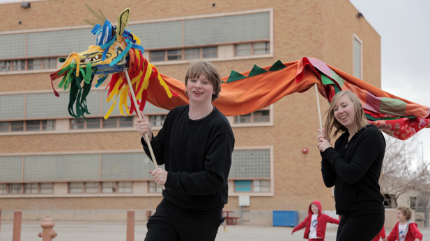 Shane Lawler, 15, and Emily Patterson,15, practice their performance for the Chinese New Year celebration at Tucson High School. Both are sophomores in Chinese language program.
