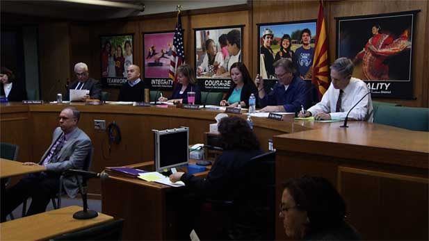 The TUSD governing board discusses implementing a new culturally relevant curriculum after a federal ruling forced the district to be in compliance with the federal desegregation order.
