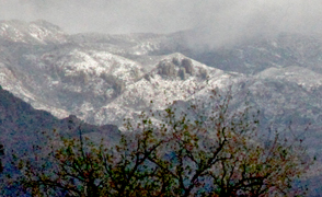 Snow on the lower ridges of the Santa Catalina Mountains