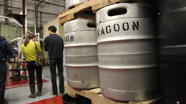 Kegs await shipping at Dragoon Brewery in Tucson.