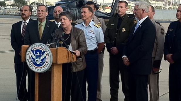 Homeland Security Secretary Janet Napolitano with officials in San Diego after border inspection tour Feb. 4, 2013.