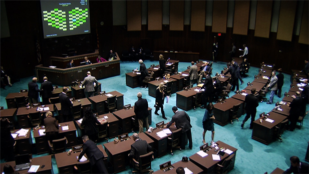 Members of the Arizona state Legislature meet at the Senate Building.
