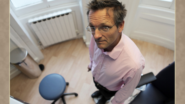 Presenter Michael Mosley having a final weigh-in, after 5 weeks of intermittent fasting.