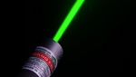 A high powered laser pointer creates a blinding green light that can be damaging to a persons eyes.