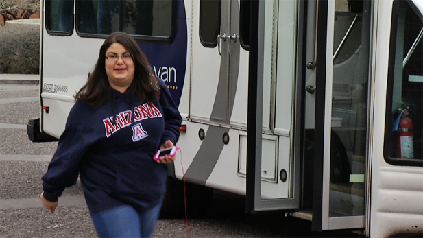 Reina Koussa, a student in the UA program Project FOCUS, arrives on campus.