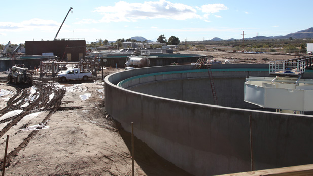 Construction at Pima County's new Roger Road Wastewater Treatment facility.