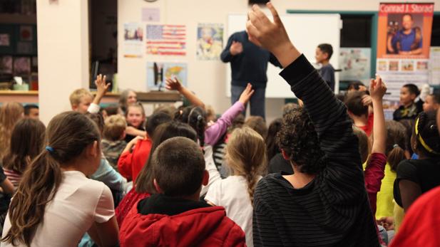 education school group of students spotlight