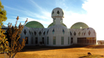 Here we have the exterior of Biosphere 2 which is illuminated by a beautiful, golden sunlight.