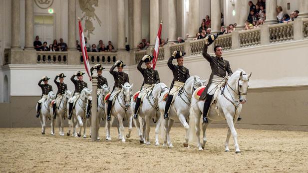 Quadrille at the Spanish Riding School, Vienna, Austria.