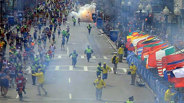 A second explosion goes off near the finish line of the 117th Boston Marathon on April 15, 2013.