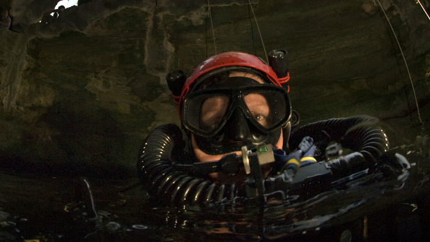 Explorer Jill Heinerth takes air from re-breather.