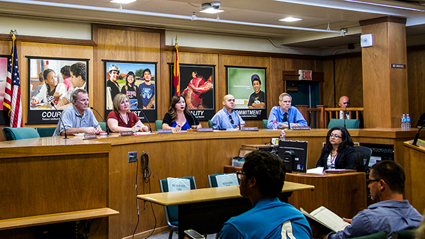 Tucson Unified School District's Governing Board. From left to right, Michael Hicks, Kristel Ann Foster, President Adelita Grijalva, Cam Juárez, Dr. Mark Stegeman.