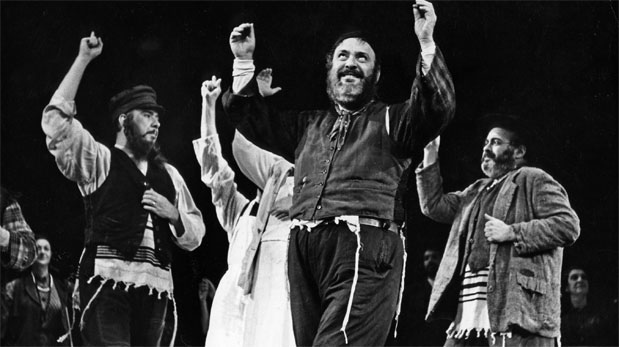 "Zero Mostel performs ""Tradition"" in the 1964 Broadway production of Fiddler on the Roof."