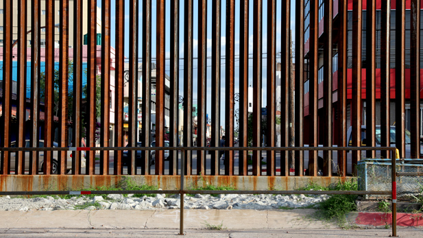 Nogales Sonora in Mexico as seen through the international border fence