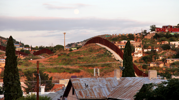 The international border fence seen from Nogales, Ariz.