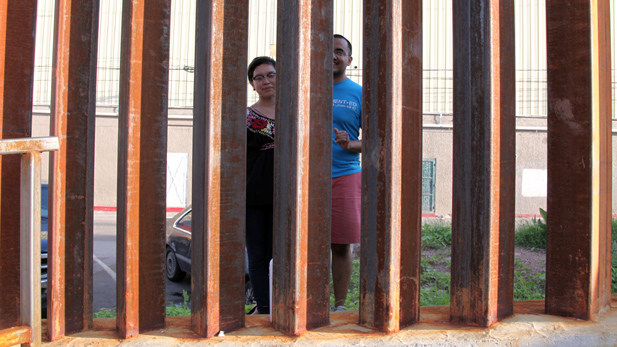 saavedra at border fence nogales spotlight