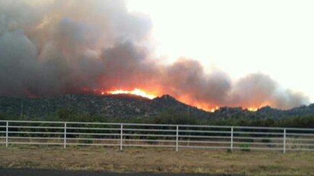 View of the Yarnell Hill Fire south of Prescott. The 8,400-acre fire killed 19 hotshot firefighters.