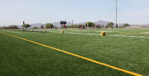 Because artificial grass does not show the wear and tear that regular grass would, more groups (such as Mountain View's marching band) can make use of the field.