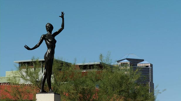 An elegant statue sits near the heart of Tucson.