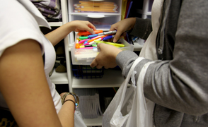 students getting school supplies YOTO focus large