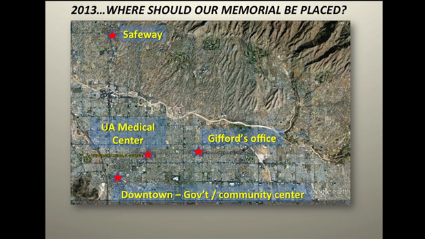 A map of the possible locations for a January 8th memorial.