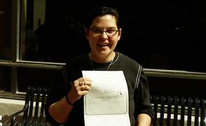 Katherine Harrison holding marriage license